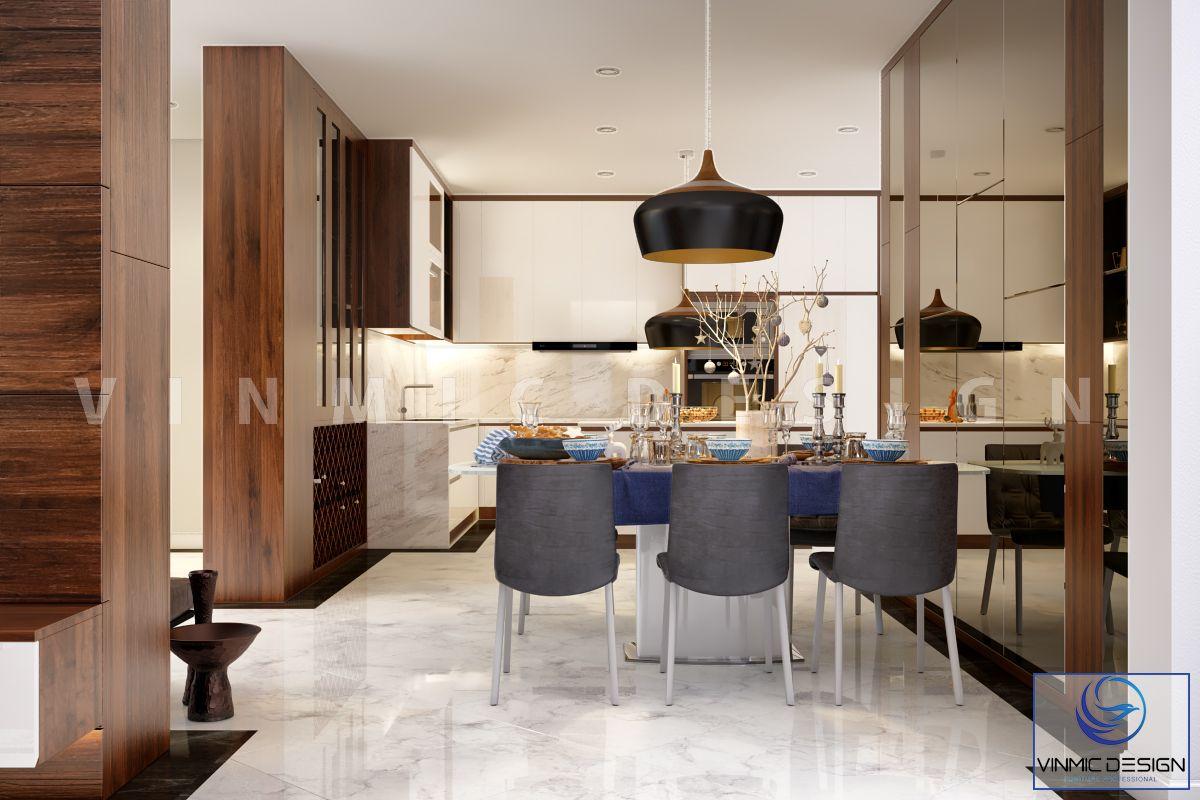 Thiết kế không gian ăn uống và tủ bếp hiện đại