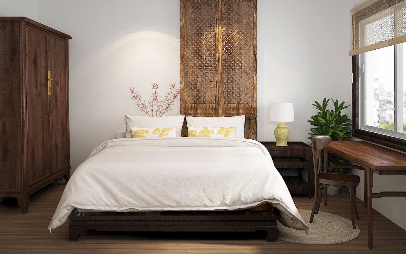 Phòng ngủ phong cách Indochine cho mẫu thiết kế nội thất chung cư 90m2 tại Hải Phòng