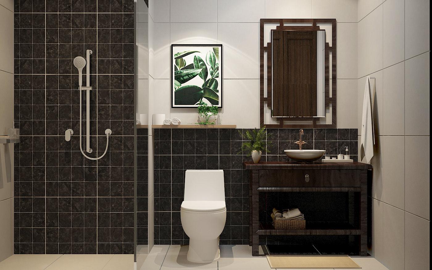 Nhà vệ sinh với tone màu nhã nhặn cho mẫu thiết kế chung cư 90m2 phong cách Indochine
