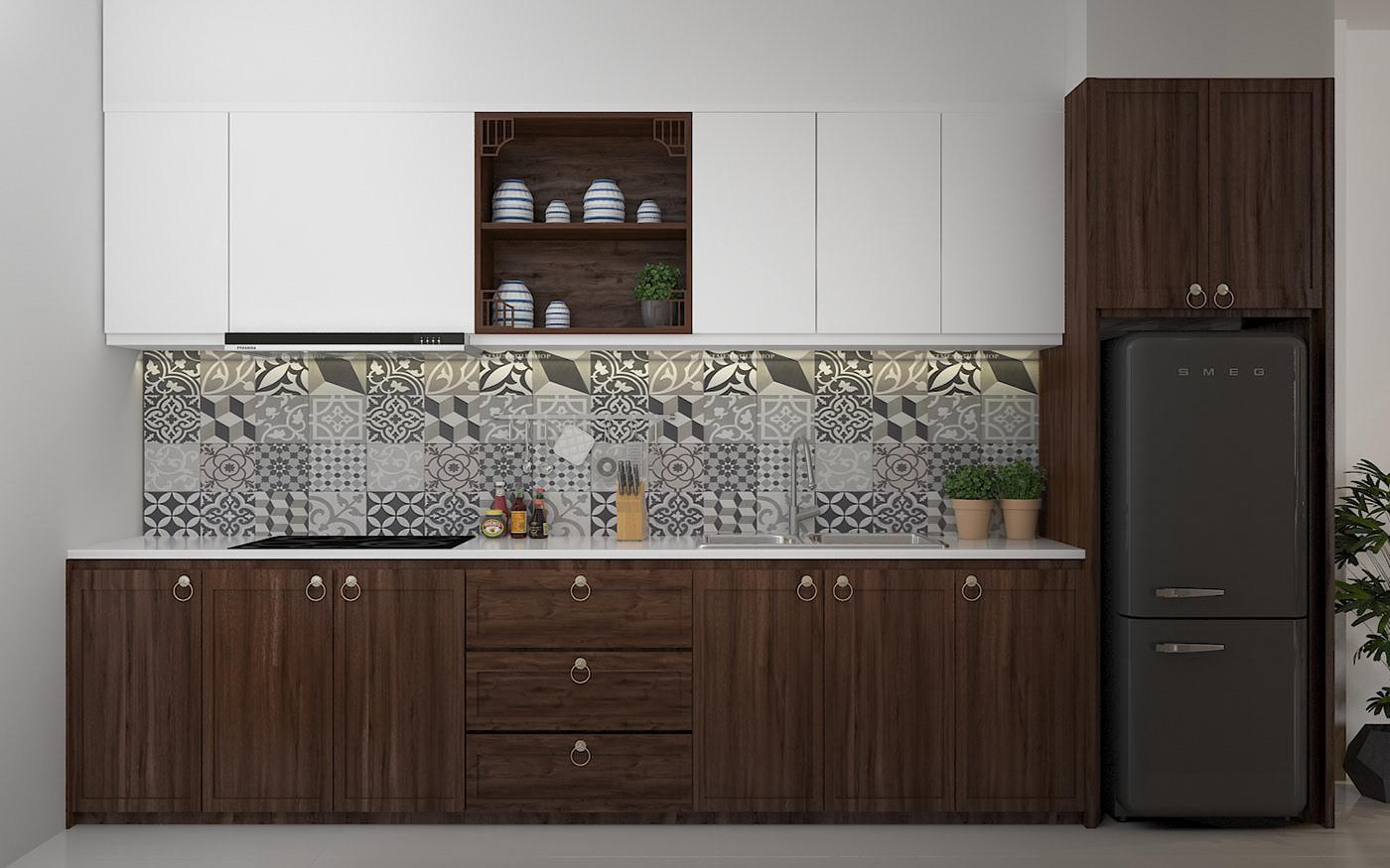 Tủ bếp đẹp sử dụng chất liệu gỗ công nghiệp MDF bề mặt Melamine ấn tượng