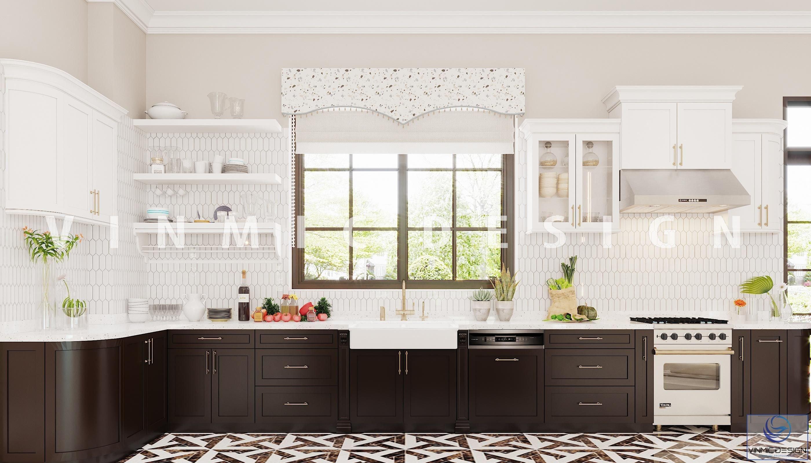 Thiết kế phòng bếp phong cách Indochine đẹp cho biệt thự tại Vinhomes Imperia Hải Phòng