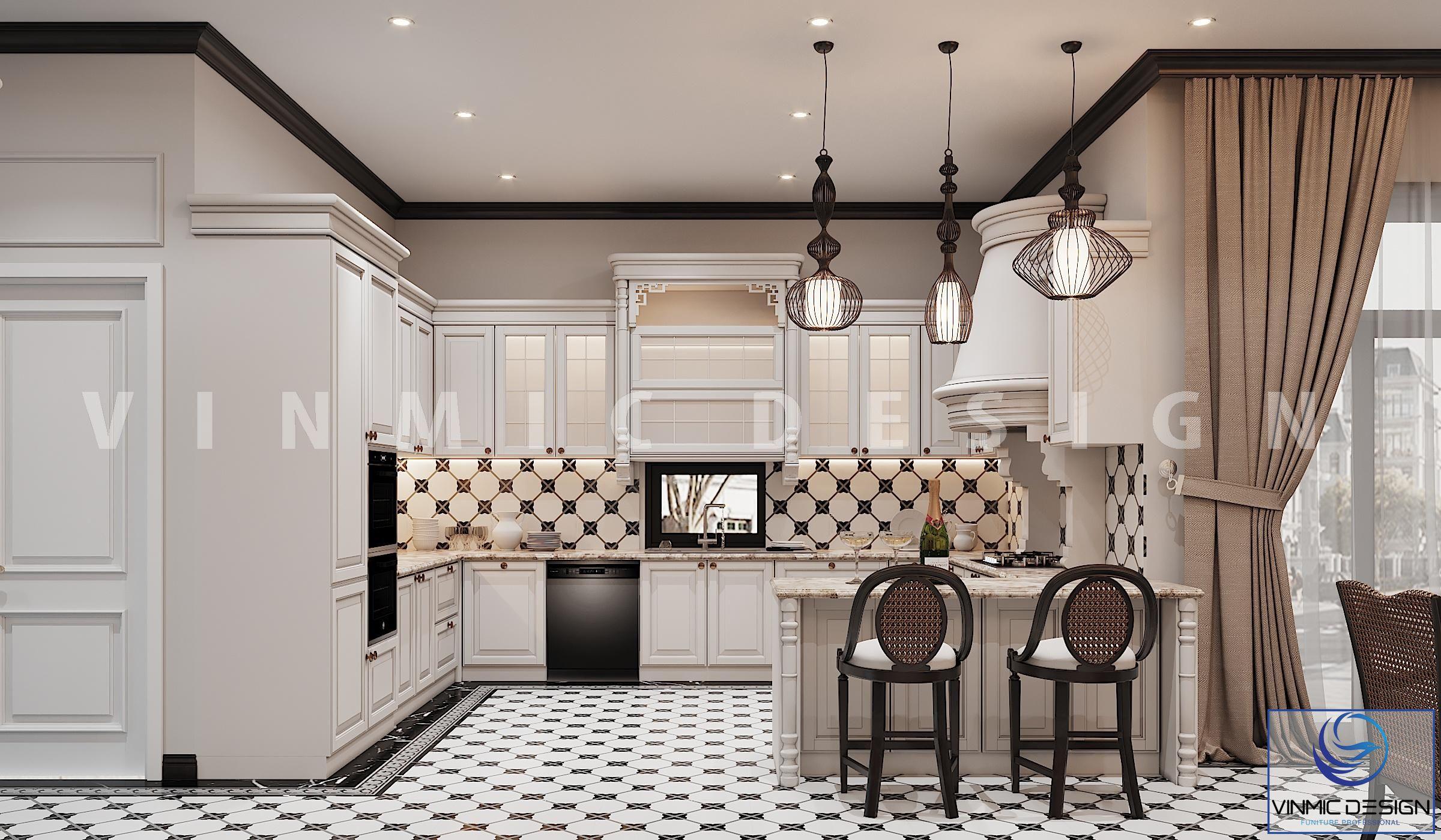 Thiết kế tủ bếp đẹp mang đậm chất Indochine (Á Đông) tại biệt thự Vinhomes Imperia Hải Phòng