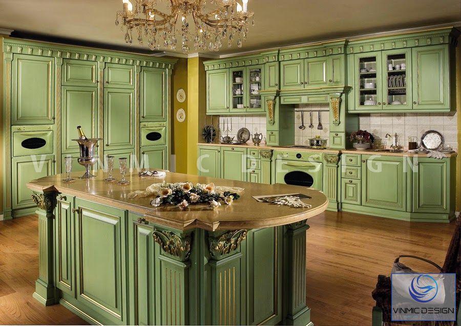 Thiết kế nội thất phòng bếp với tone màu xanh tươi mới mang phong cách tân cổ điển