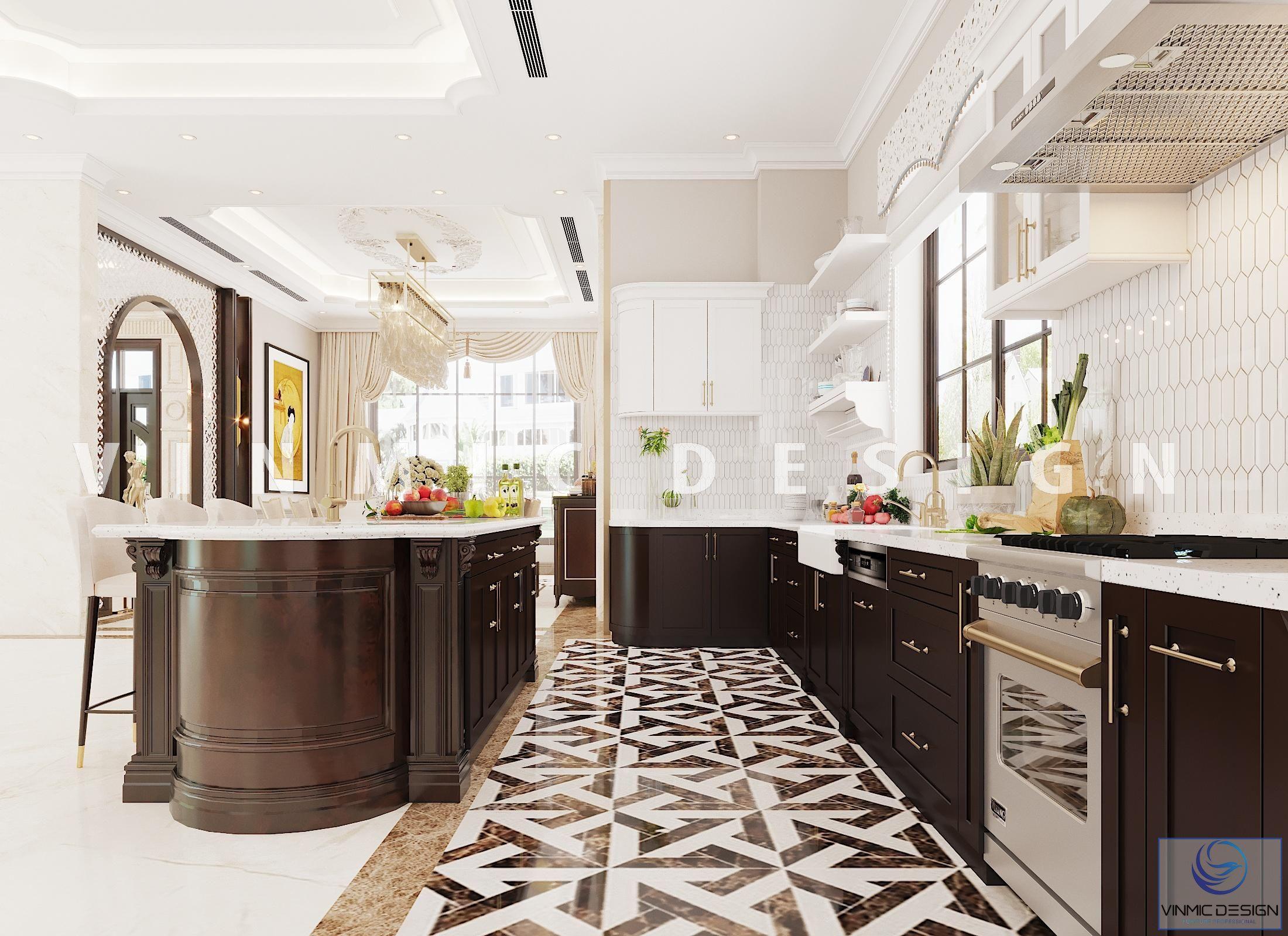 Phòng bếp phong cách Indochine cho biệt thự Vinhomes Imperia Hải Phòng