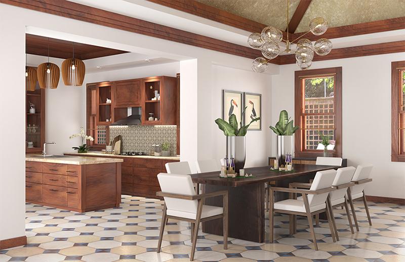 Thiết kế nội thất phòng bếp và phòng ăn đẹp của gia đình chị Lan