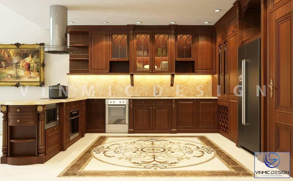 Thiết kế phòng bếp tân cổ điển tiện nghi nhà anh Phong