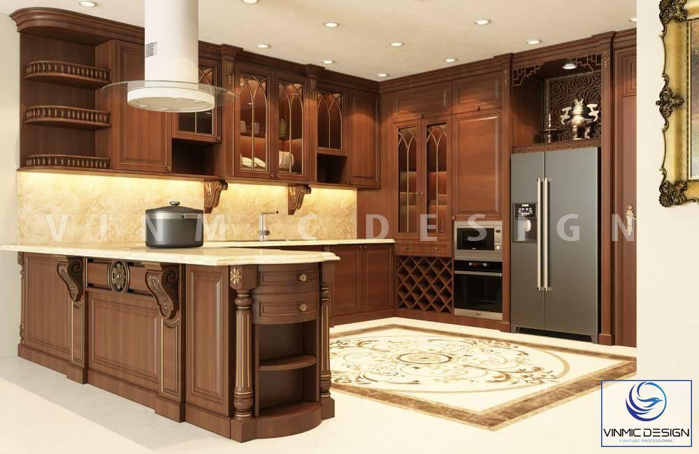 Thiết kế nội thất phòng bếp phong cách tân cổ điển với chất liệu gỗ tự nhiên đậm chất trường tồn với thời gian của nhà anh Phong
