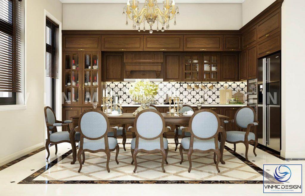 Thiết kế nội thất phòng bếp tân cổ điển gần gũi nhà chị Hoa
