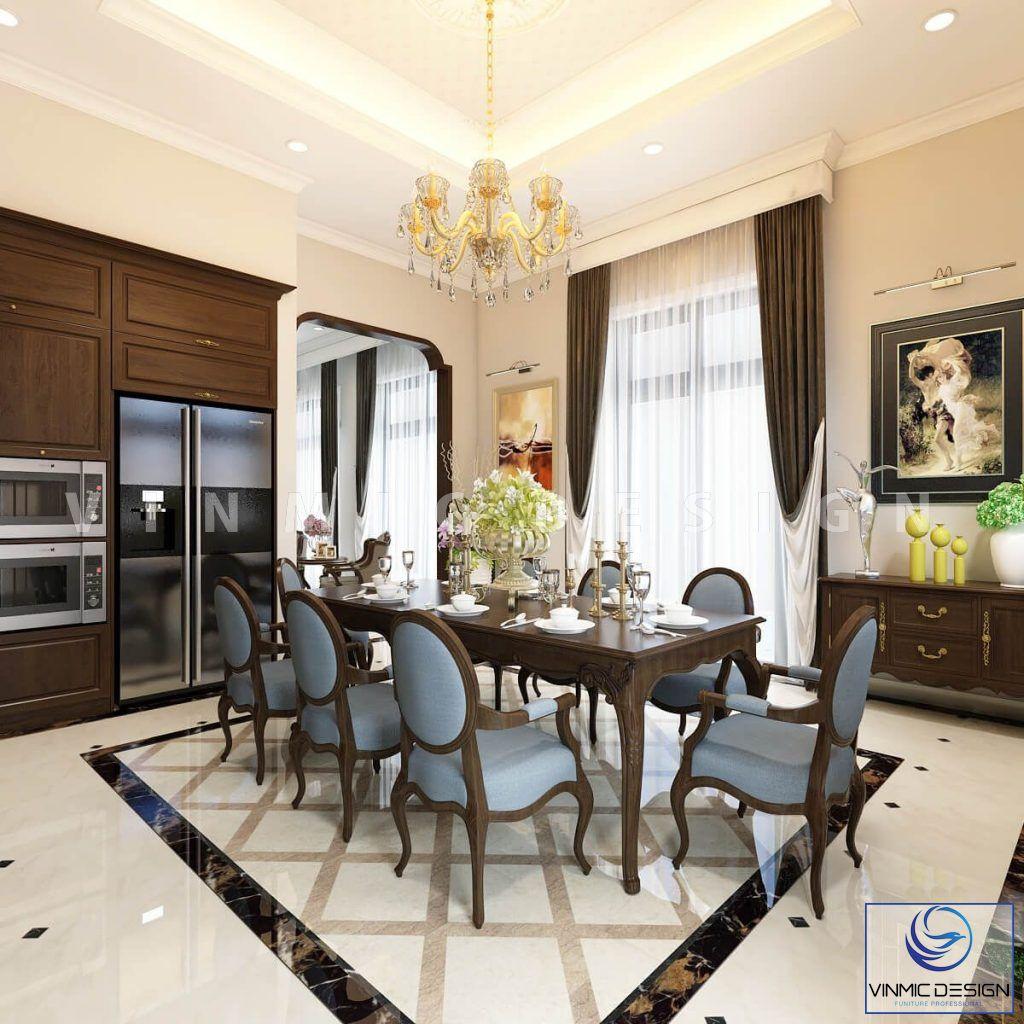 Thiết kế nội thất phòng bếp phong cách tân cổ điển trang nhã nhà chị Hoa