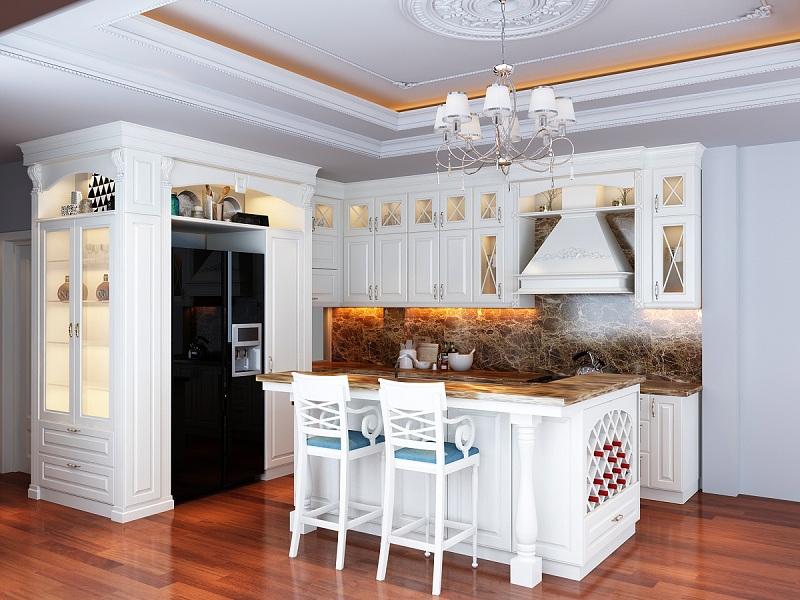 Thiết kế nội thất phòng bếp phong cách tân cổ điển với bàn đảo và đồ nội thất đẹp