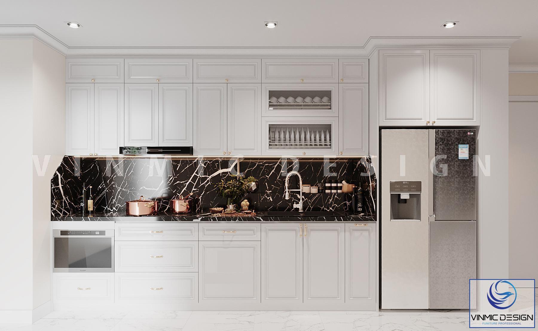 Tủ bếp với tone màu trắng trang nhã với mẫu thiết kế nội thất phong cách tân cổ điển cho chung cư