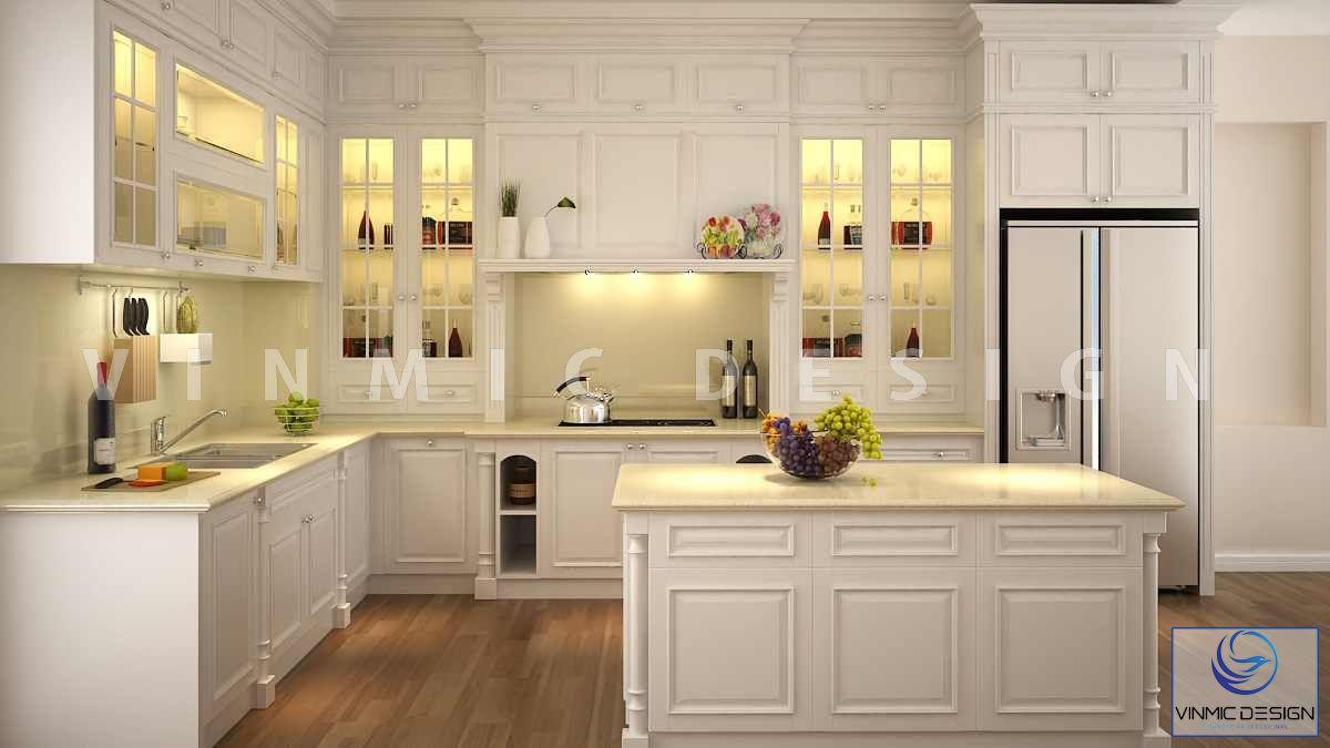 Thiết kế nội thất phòng bếp tân cổ điển trang nhã
