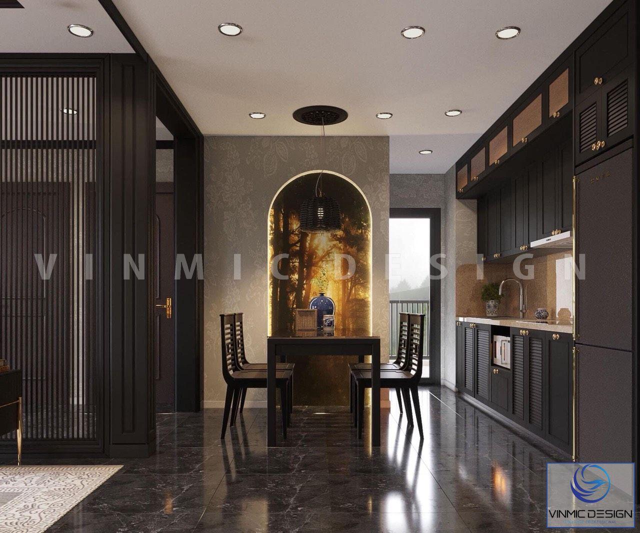 Thiết kế nội thất phòng bếp - ăn đẹp tại căn hộ gia đình cô Hương