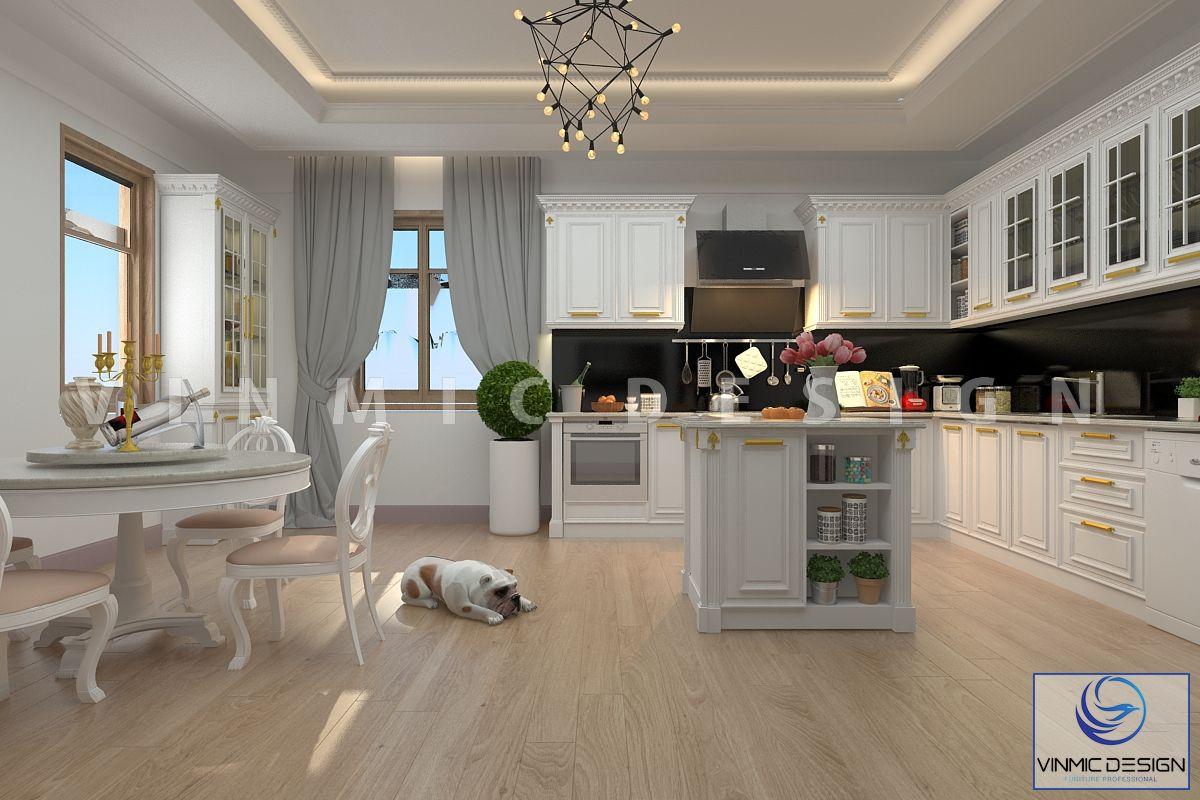 Thiết kế nội thất phòng bếp phong cách tân cổ điển ấn tượng nhà anh Trọng