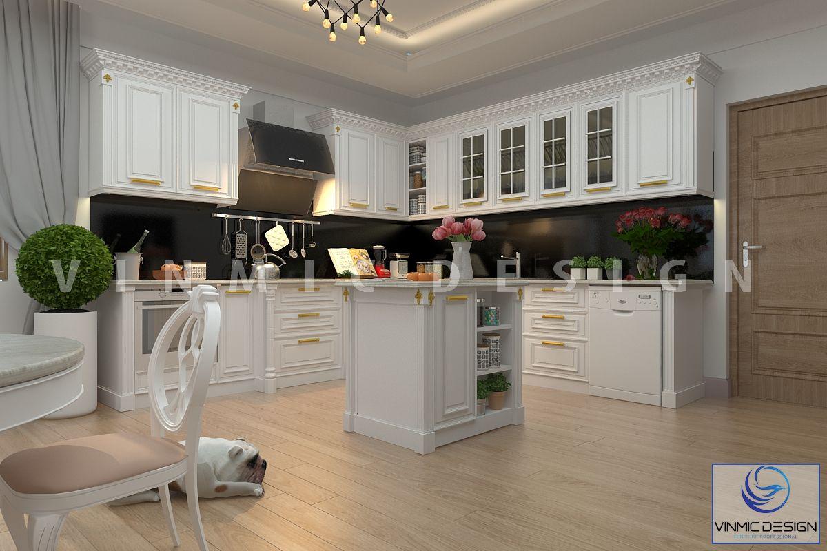 Thiết kế nội thất phòng bếp tân cổ điển đẹp