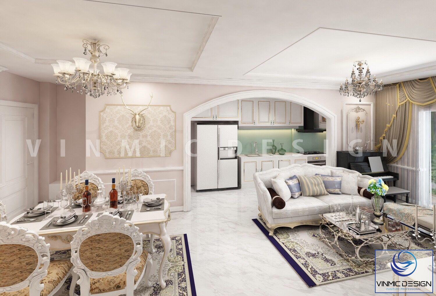 Không gian căn nhà được bố trí công năng tối ưu trong mẫu thiết kế nội thất chung cư phong cách tân cổ điển