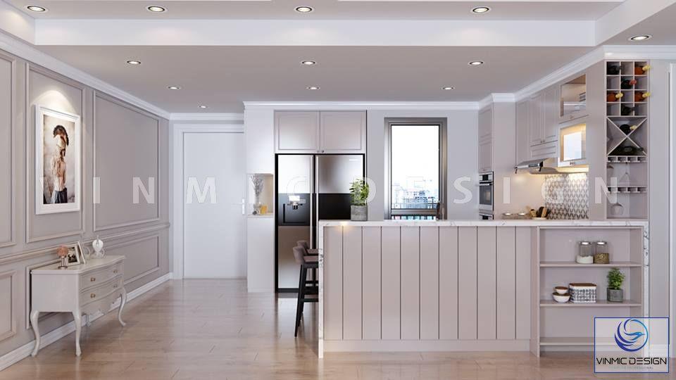 Thiết kế nội thất phòng bếp tân cổ điển giản đơn cho căn hộ chung cư nhà chị Hương