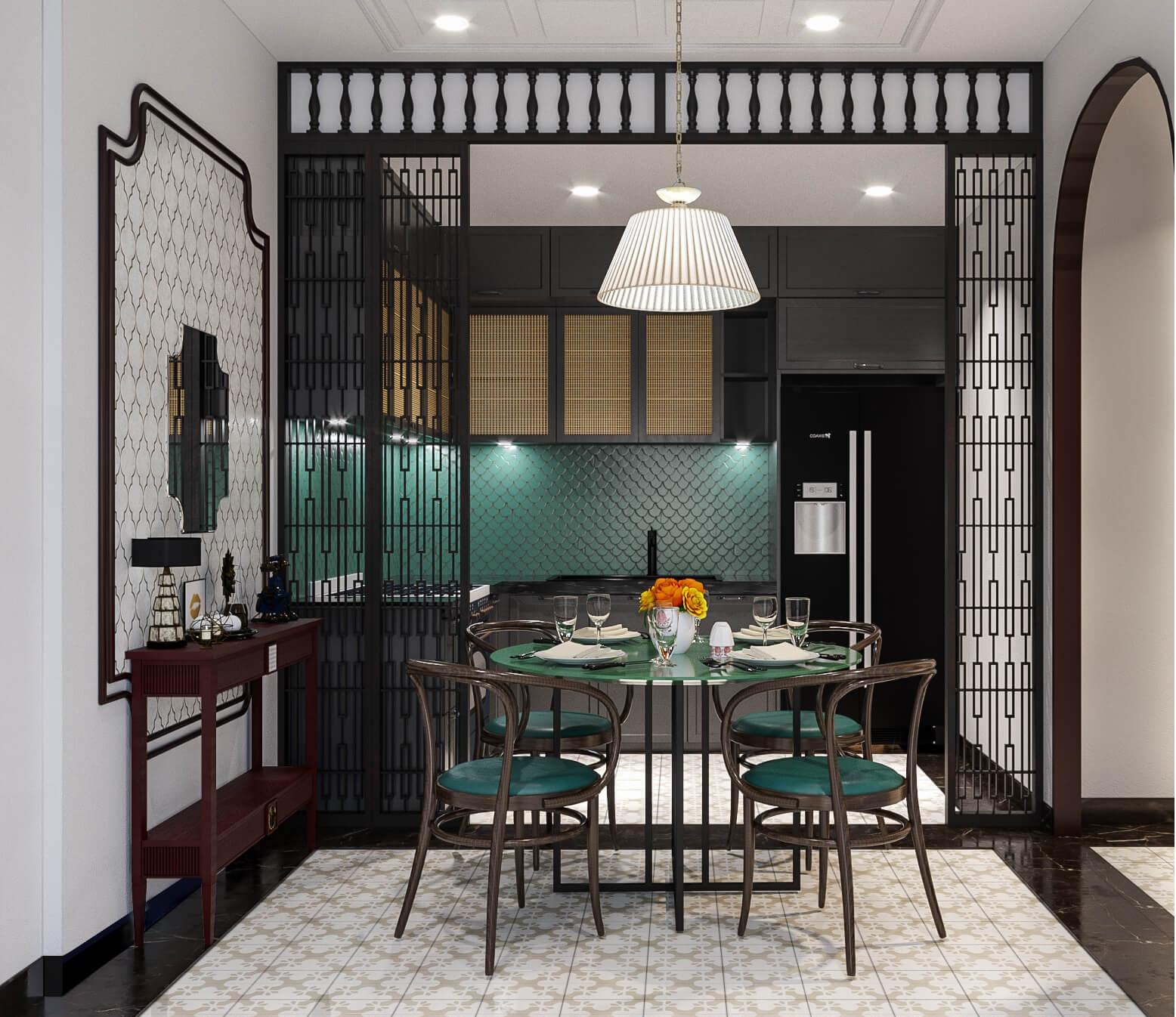 Không gian đun nấu và sinh hoạt với sắc xanh ấn tượng mang phong cách Á Đông (Indochine)