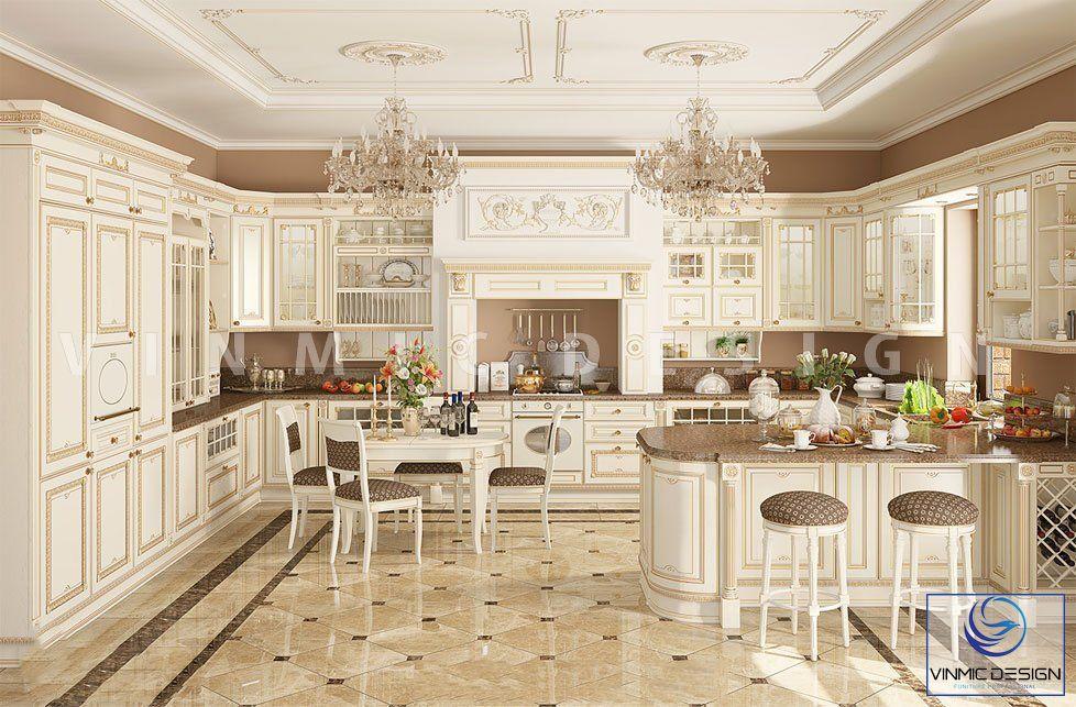 Thiết kế nội thất phòng bếp phong cách tân cổ điển ấn tượng tại biệt thự Vinhomes Star City Thanh Hóa