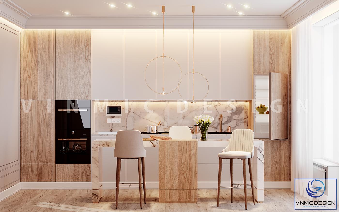 Thiết kế nội thất phòng bếp tân cổ điển cho chung cư đẹp