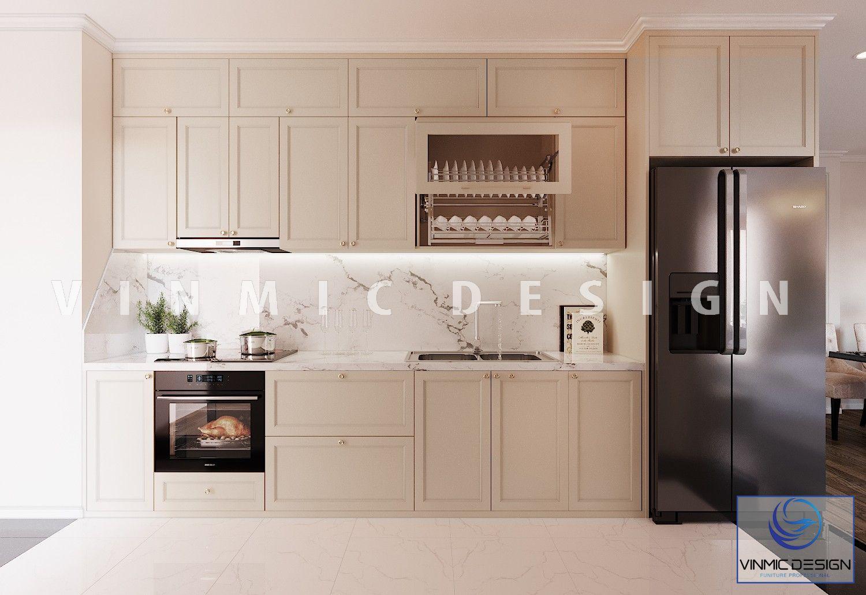 Thiết kế tủ bếp tân cổ điển giản đơn cho căn hộ chung cư