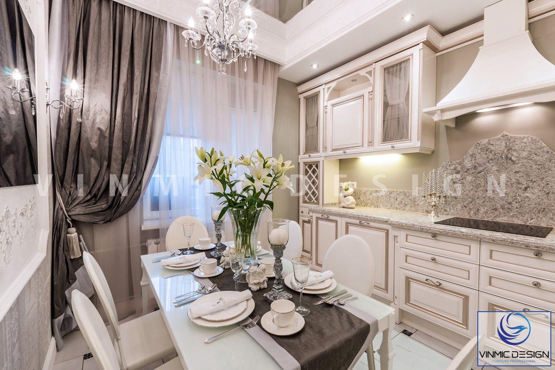 Thiết kế nội thất phòng bếp tân cổ điển tinh tế cho chung cư