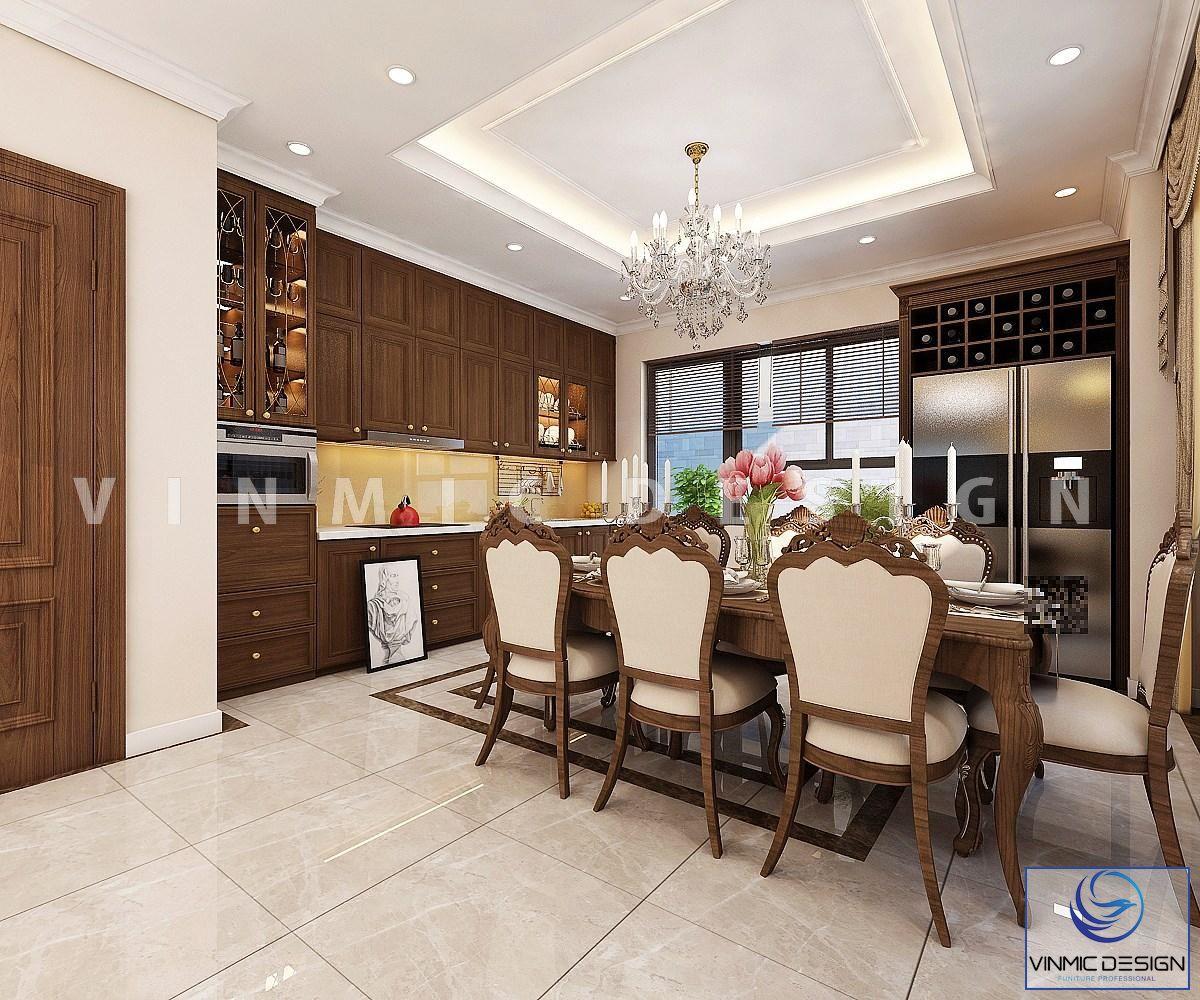 Phòng bếp phong cách tân cổ điển tinh tế tại biệt thự Vinhomes Imperia Hải Phòng
