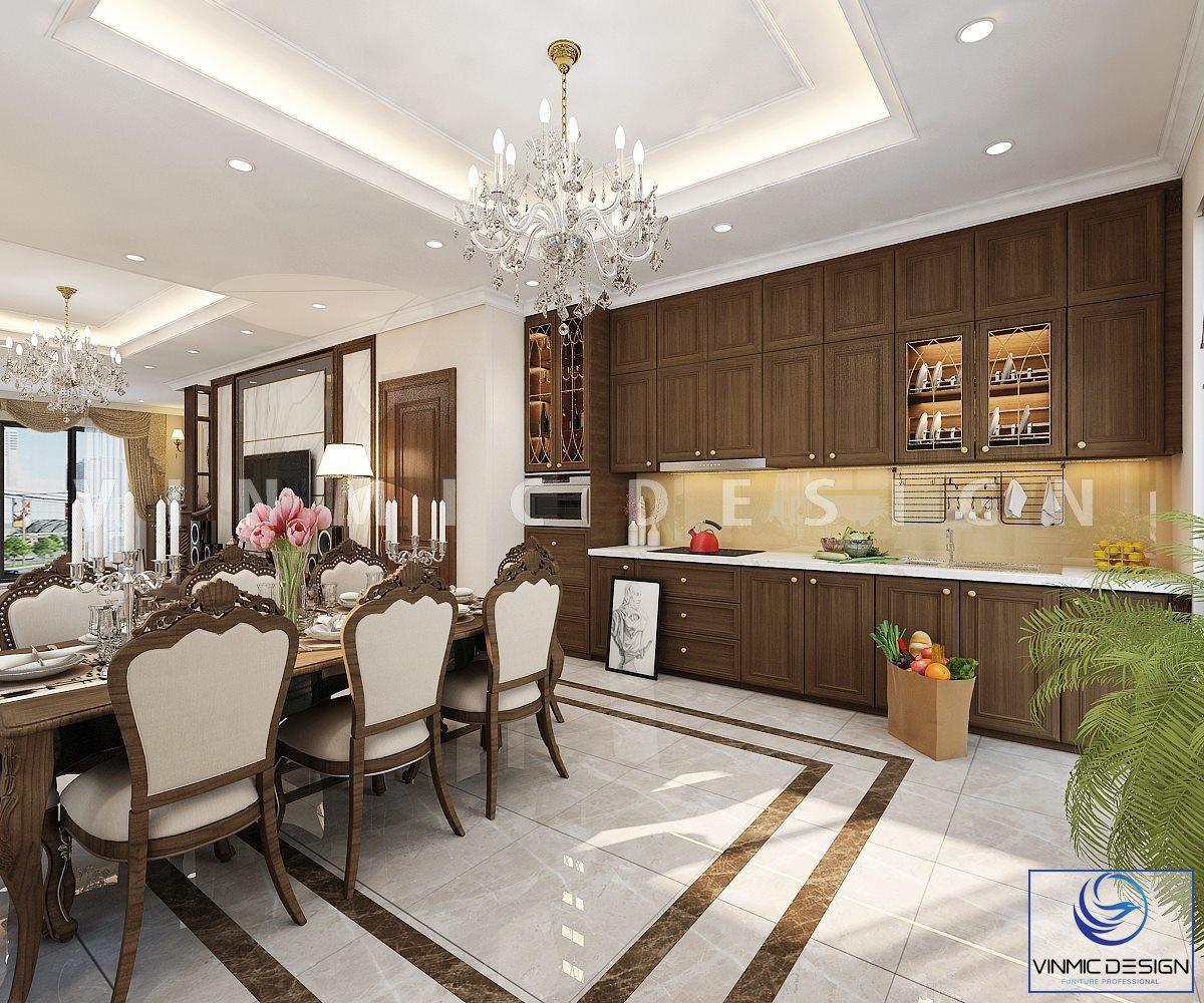Thiết kế nội thất phòng bếp phong cách tân cổ điển đẹp tại căn biệt thự Vinhomes Imperia Hải Phòng