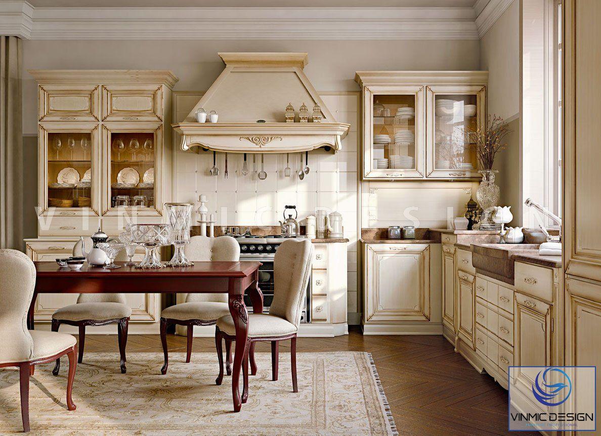 Thiết kế nội thất phòng bếp phong cách tân cổ điển đẹp
