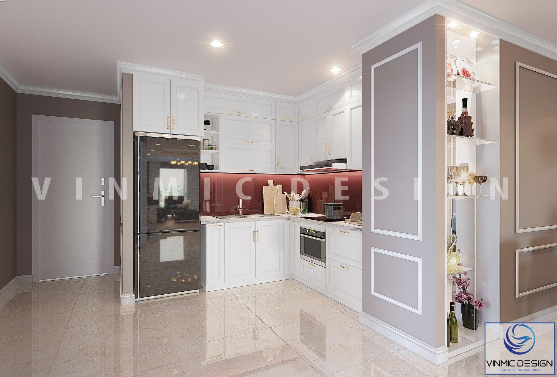Thiết kế nội thất phòng bếp phong cách tân cổ điển cho chung cư đẹp