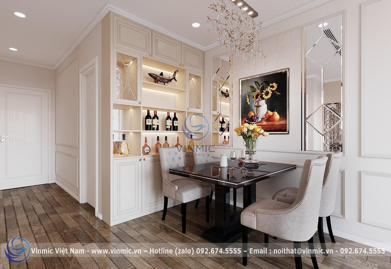 Bộ bàn ăn được thiết kế đẹp mắt cho căn hộ chung cư 2 phòng ngủ phong cách tân cổ điển