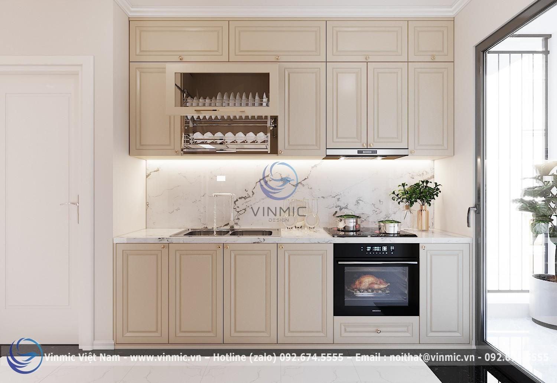 Tủ bếp tân cổ điển đẹp cho chung cư 2 phòng ngủ