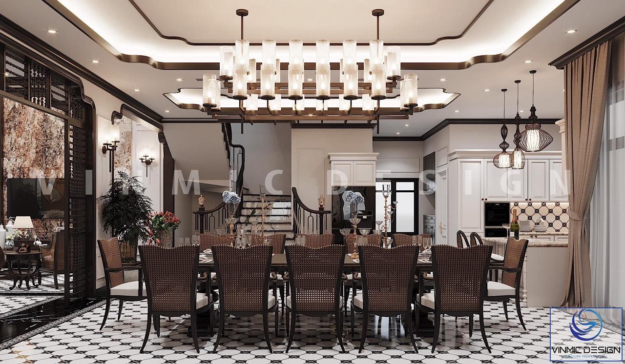 Ở góc khác, phòng ăn được thiết kế nổi bật với hệ thống đèn chùm và đèn trang trí ấn tượng