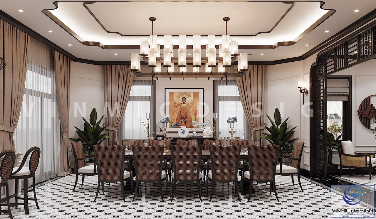 Phòng ăn được thiết kế với bộ bàn ghế nan đẹp tại biệt thự Vinhomes Imperia Hải Phòng