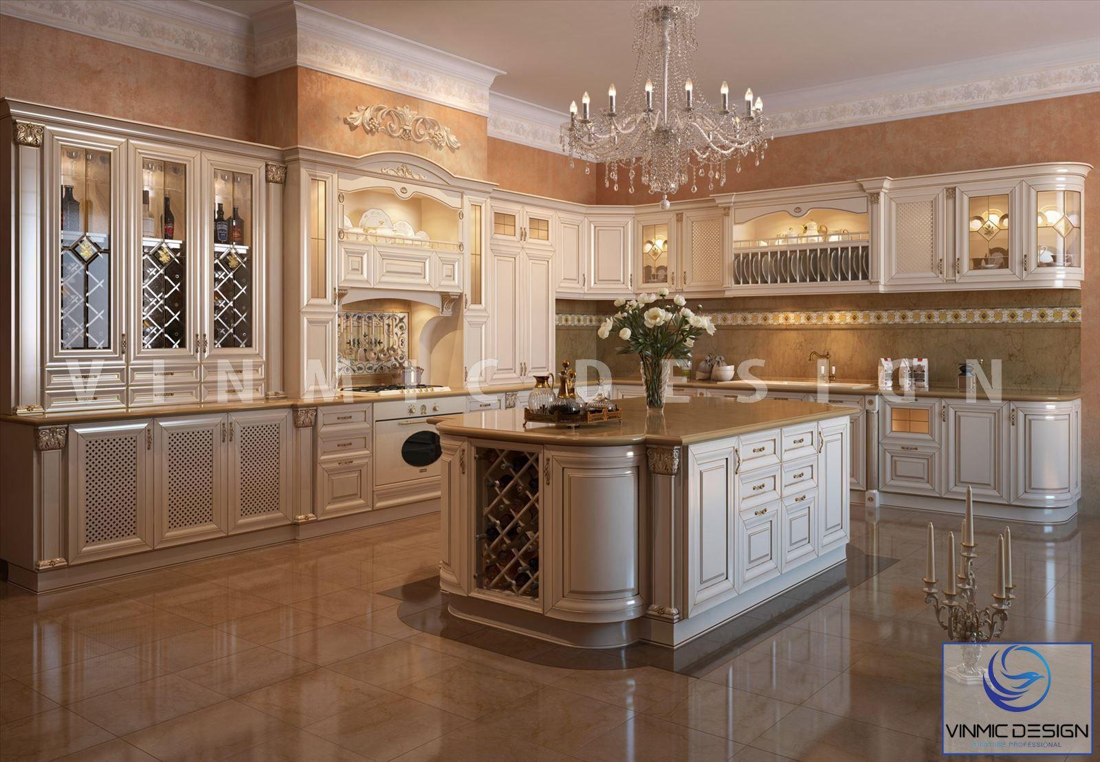 Thiết kế nội thất phòng bếp phong cách tân cổ điển cho biệt thự Vinhomes The Harmony