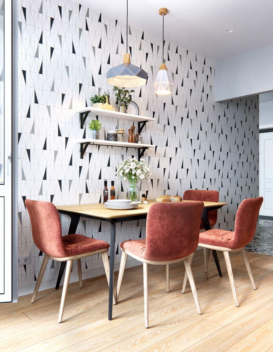 Không gian thiết kế phòng bếp phong cách Scandinavian với tone màu trẻ trung