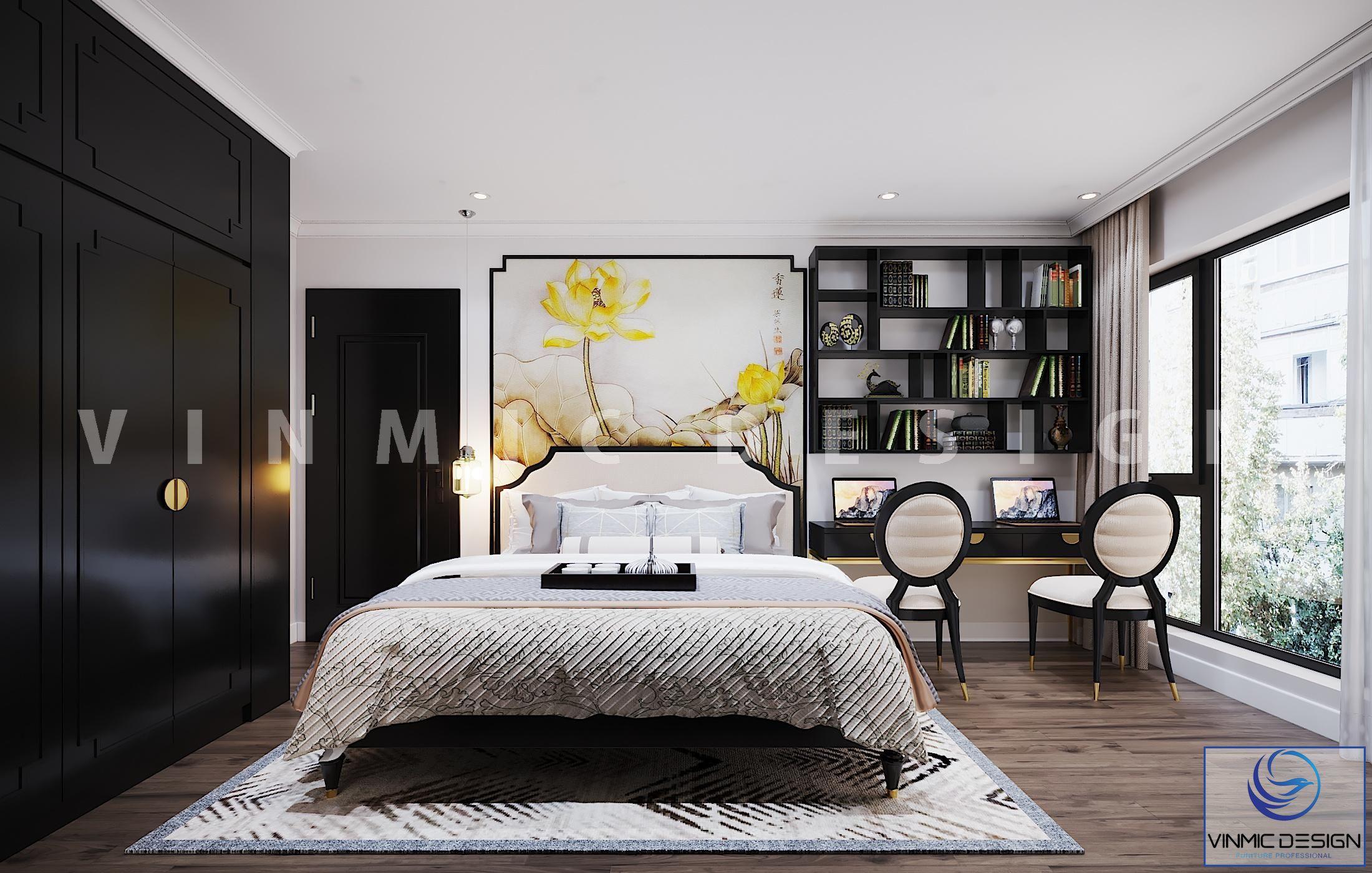 Thiết kế nội thất phòng ngủ phong cách Indochine (Á Đông) tinh tế tại chung cư Vinhomes Metropolis