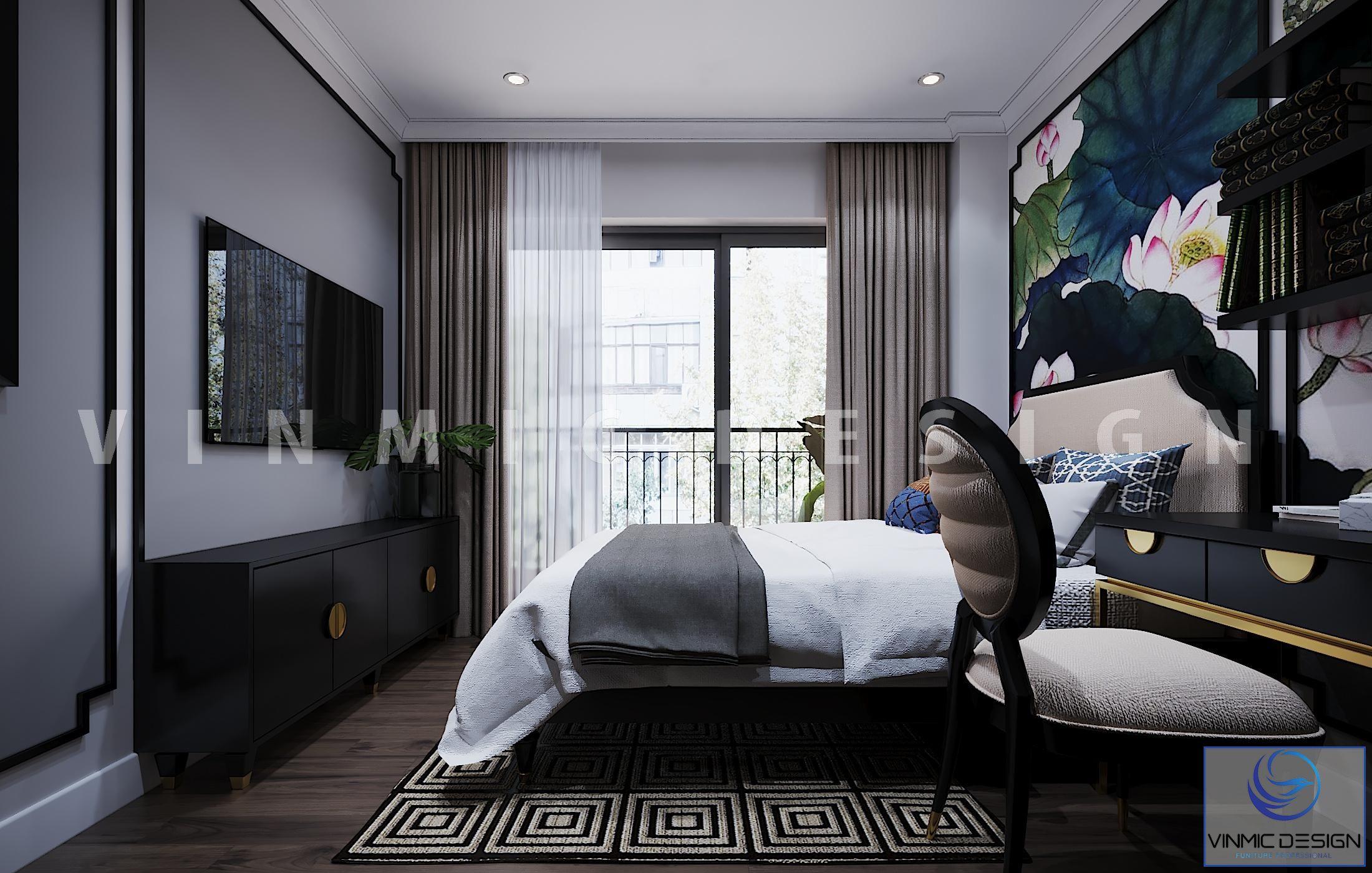 Phòng ngủ đẹp phong cách Indochine (Á Đông) cho căn hộ tại chung cư Vinhomes Metropolis