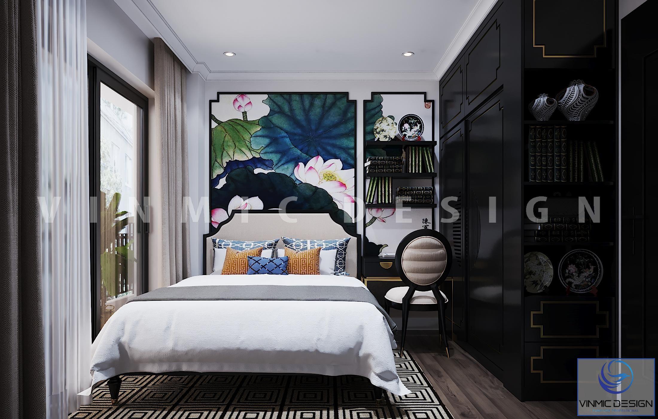 Thiết kế nội thất phòng ngủ ấn tượng phong cách Indochine (Á Đông) cho căn hộ tại chung cư Vinhomes Metropolis