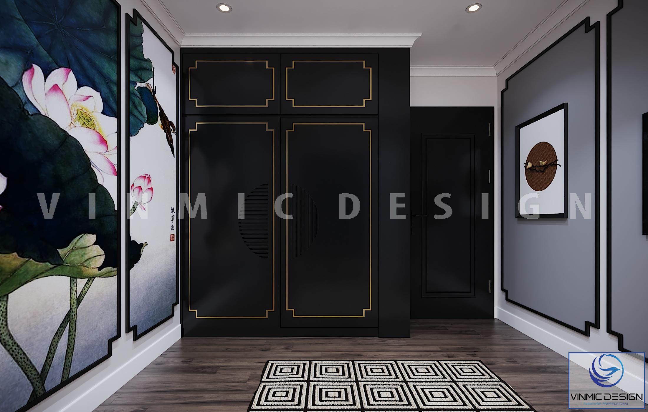 Tủ quần áo với viền tủ mạ vàng sang trọng phong cách Indochine (Á Đông) cho căn hộ tại chung cư Vinhomes Metropolis