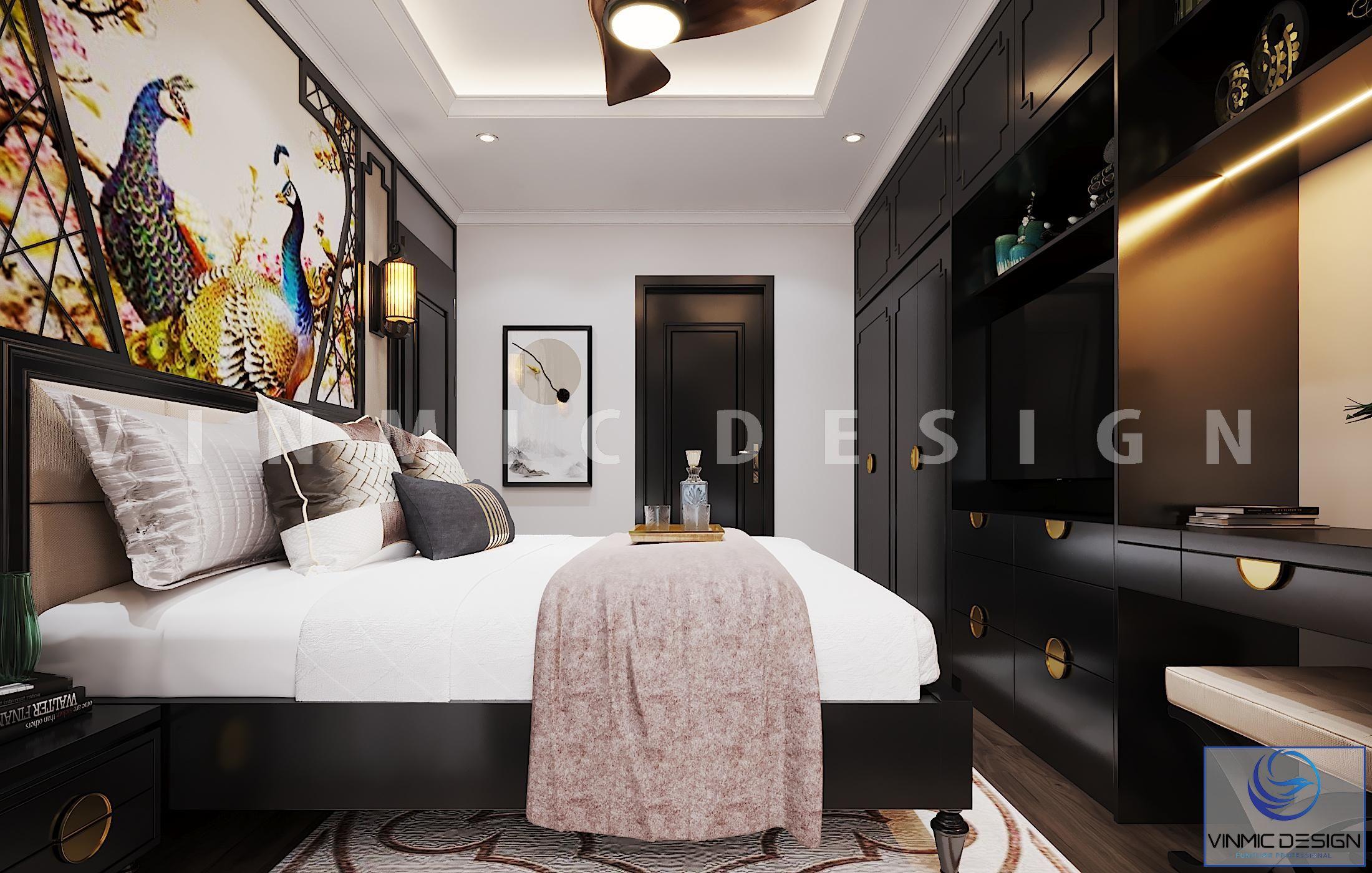 Một góc khác, phòng ngủ có các khoảng không gian hài hòa từ màu sắc đến đồ nội thất phong cách Indochine (Á Đông)