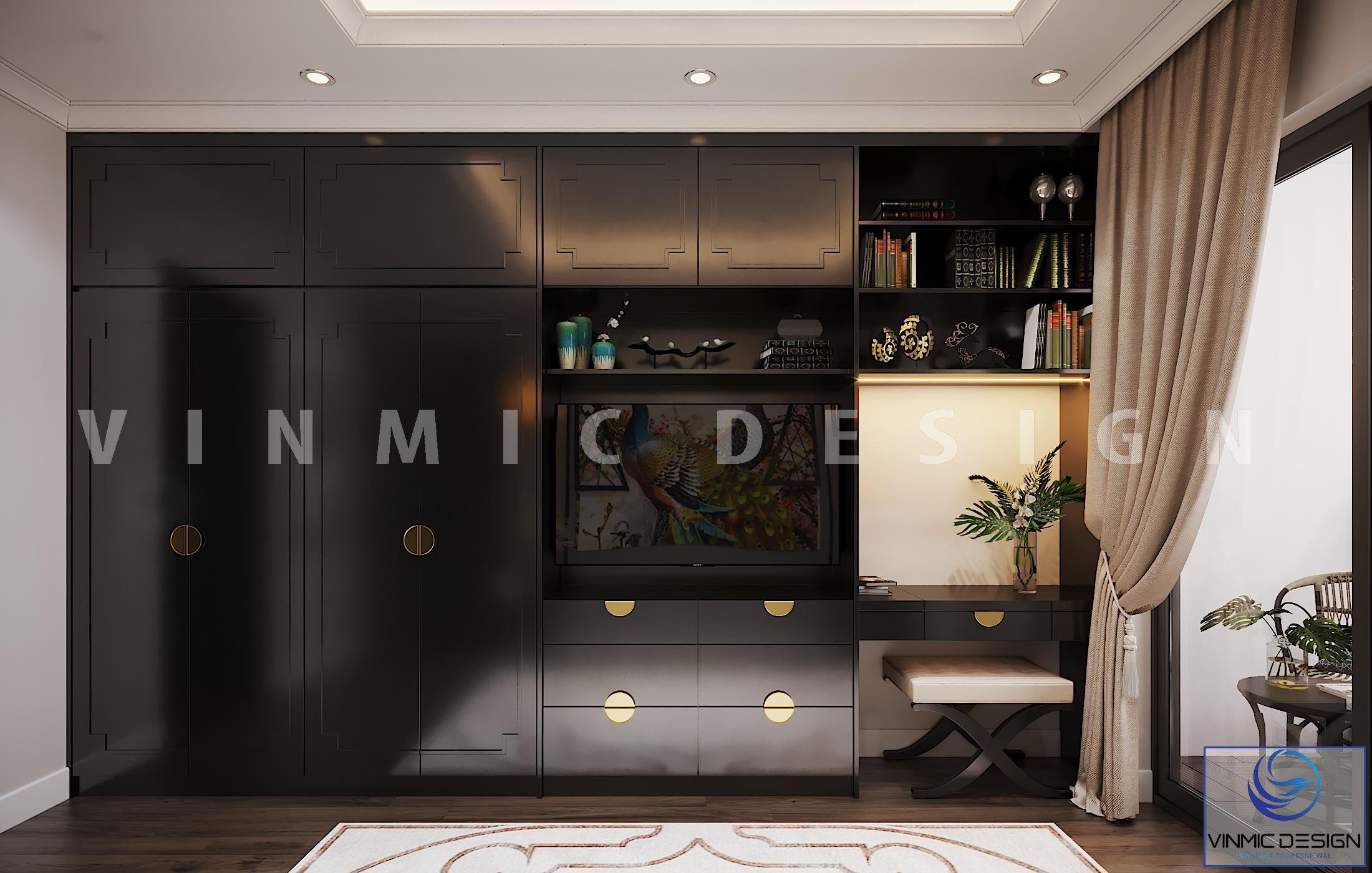 Tủ quần áo được thiết kế sang trọng với tay nắm mạ vàng trên nền tone đen nổi bật của phòng ngủ vợ chồng anh Sơn