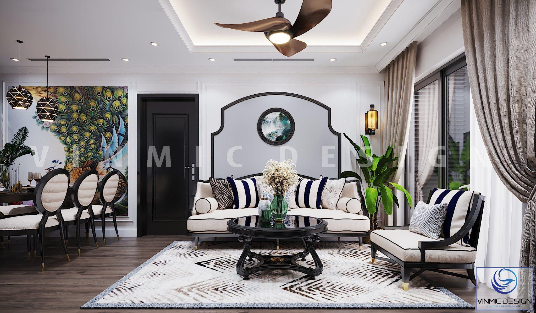 Thiết kế nội thất phòng khách phong cách Indochine (Á Đông) tinh tế tại chung cư Vinhomes Metropolis