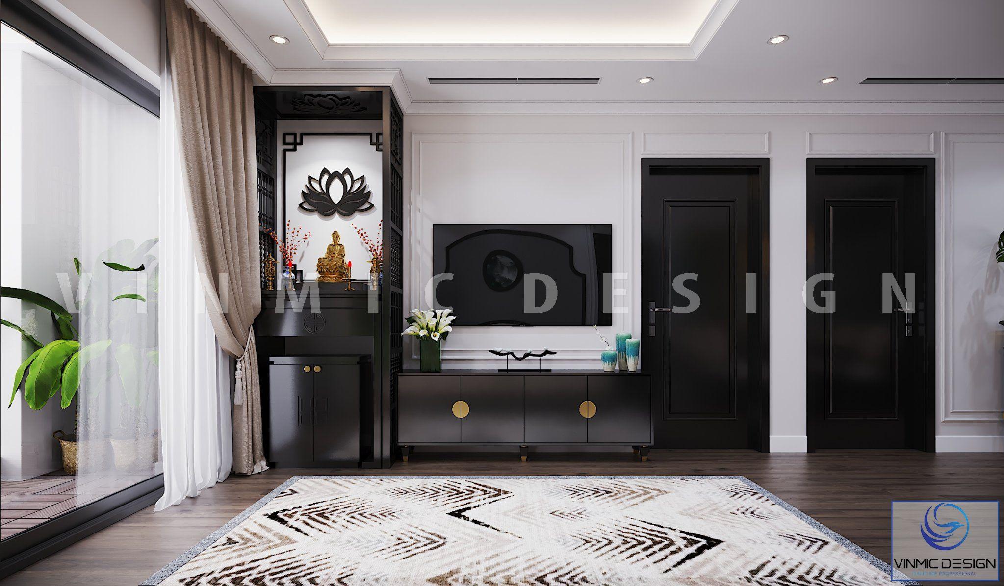 Thiết kế nội thất phòng thờ đẹp phong cách Indochine (Á Đông) tại chung cư Metropolis