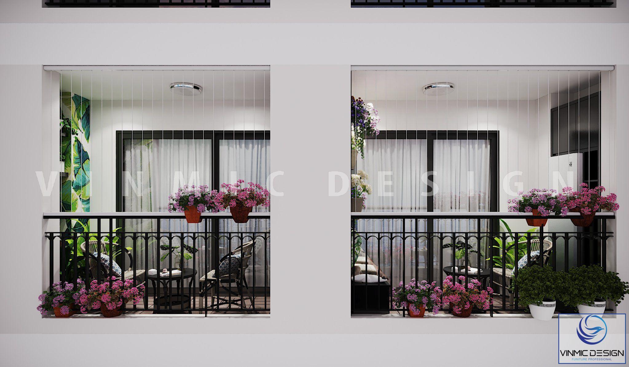 Thiết kế ban công đẹp với các chậu hoa giúp nổi bật giữa tòa chung cư Metropolis