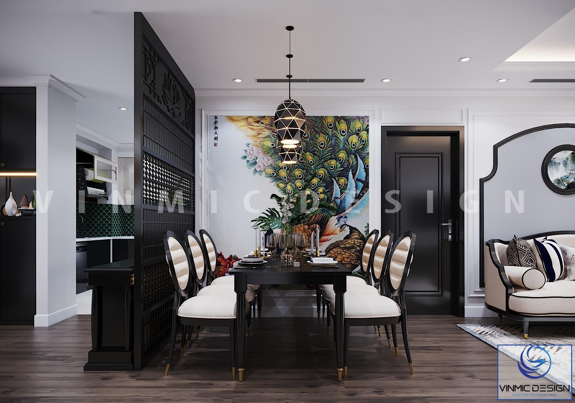Thiết kế nội thất phong cách Indochine (Á Đông) nổi bật với bộ bàn ăn sang trọng tại chung cư Vinhomes Metropolis