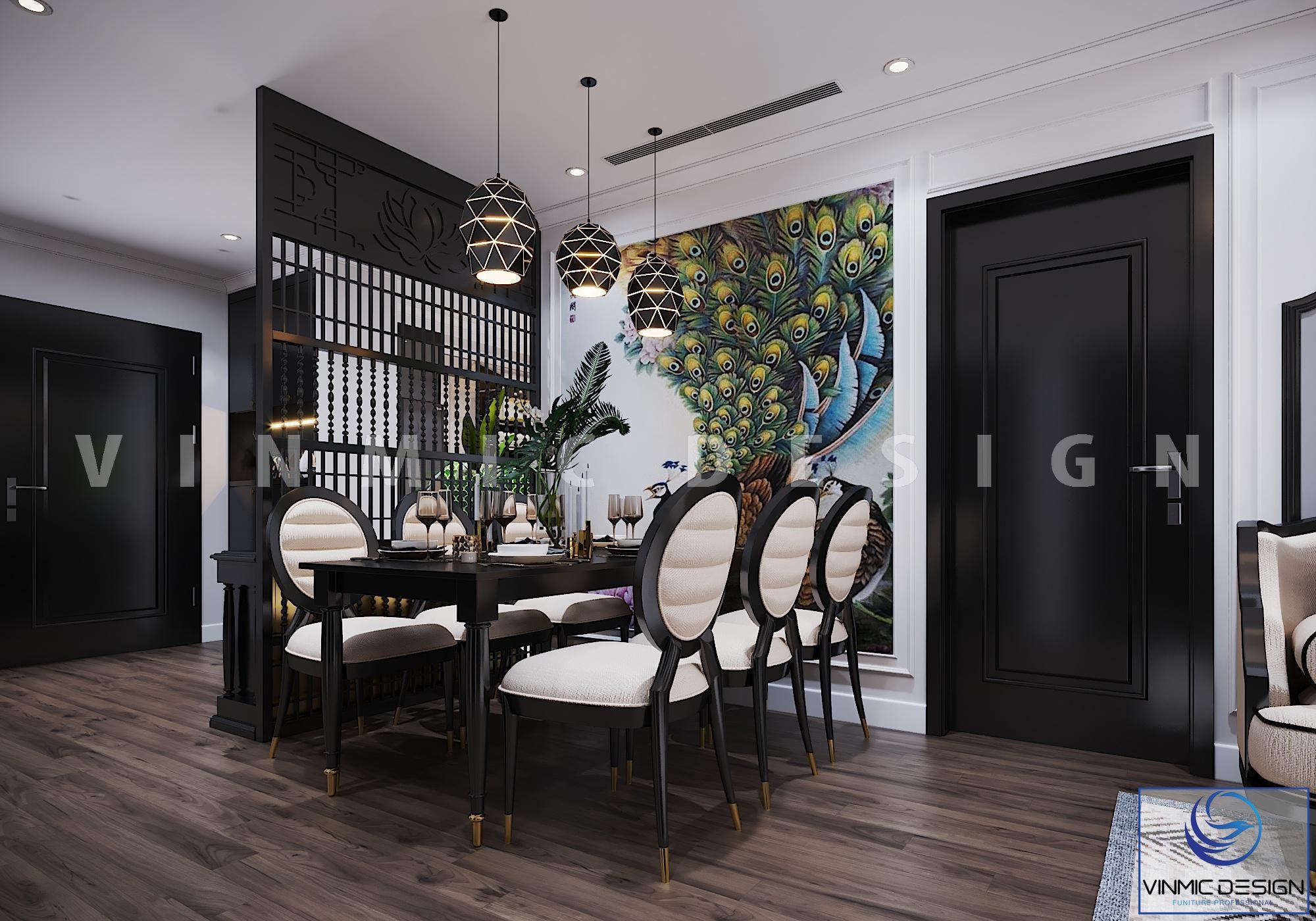Bàn ăn phong cách Indochine (Á Đông) ấn tượng tại chung cư Vinhomes Metropolis