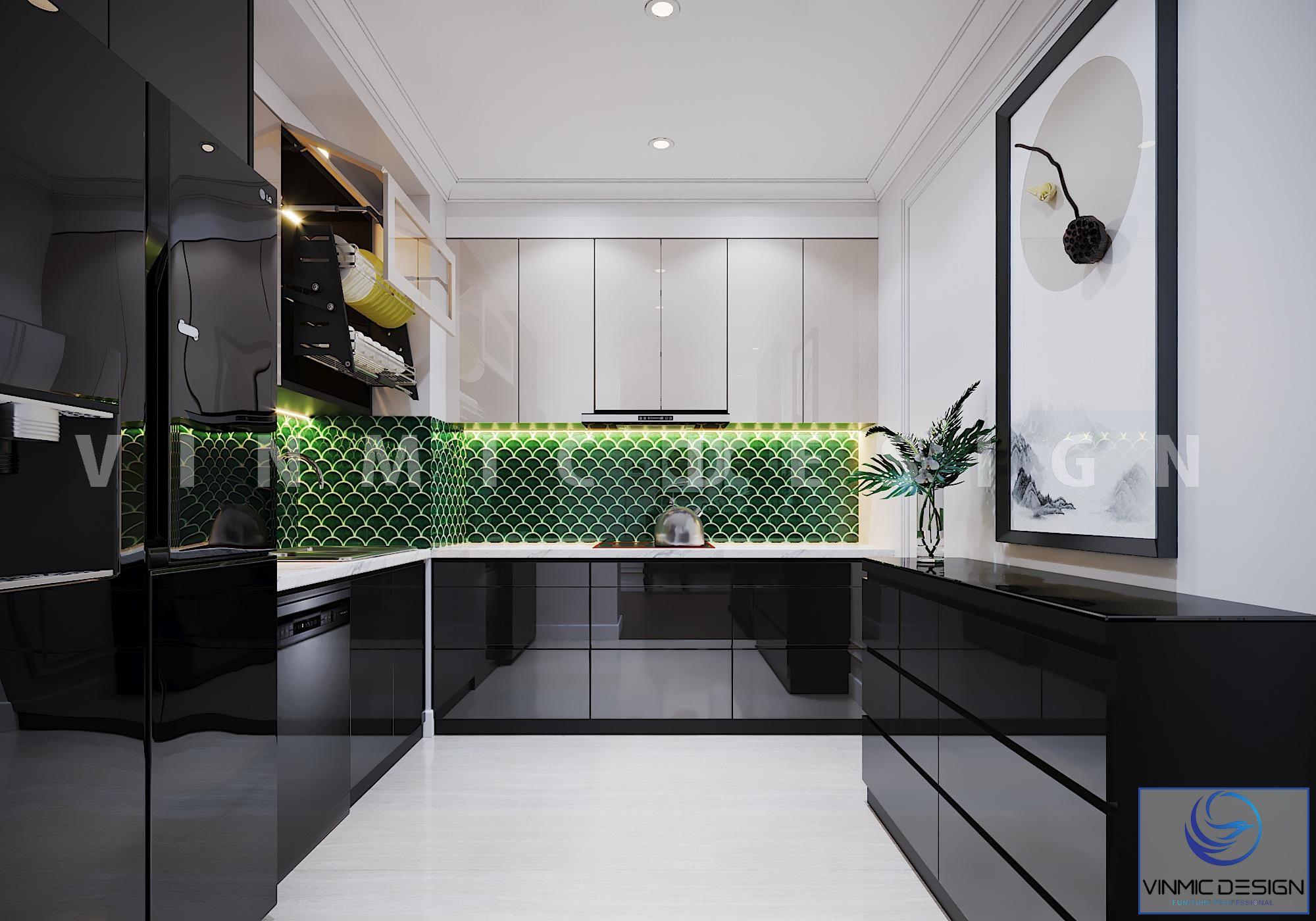 Thiết kế tủ bếp đẹp phong cách Indochine (Á Đông) tại chung cư Vinhomes Metropolis