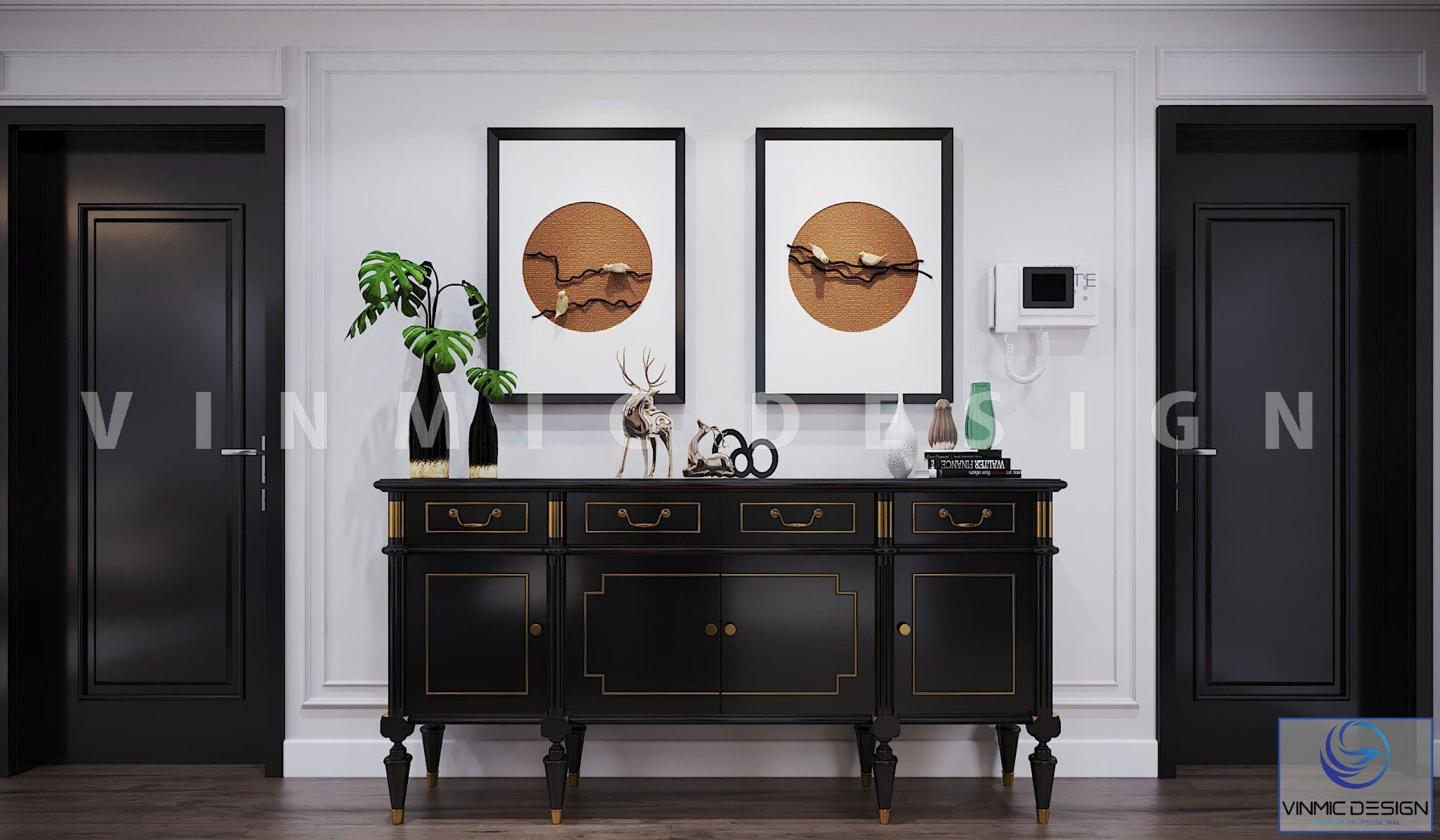 Tủ trang trí với các đường nét đẹp mang phong cách Indochine (Á Đông) đẹp tại chung cư Vinhomes Metropolis