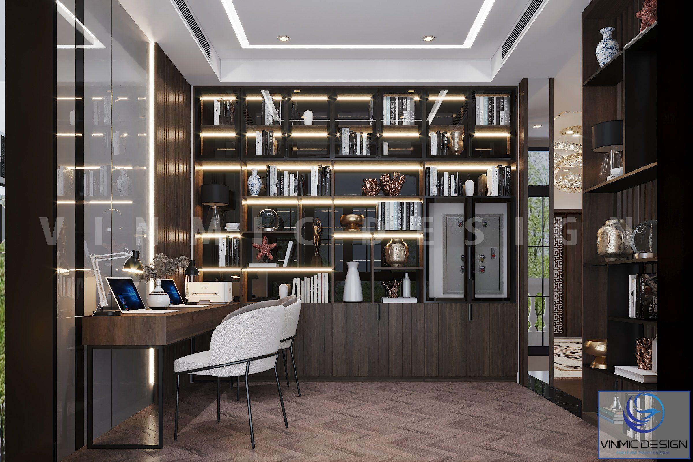 Thiết kế nội thất phòng đọc sách hiện đại tại biệt thự Vinhomes Imperia Hải Phòng